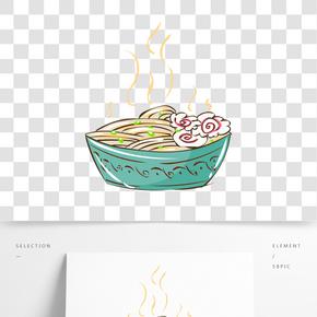冬季熱氣騰騰的簡筆畫小清新美食魚板面免摳素材
