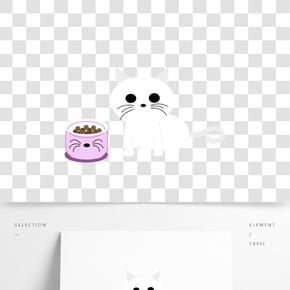 白色貓咪吃食貓食手繪卡通