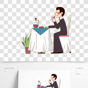手繪餐飲酒店顧客人物插畫
