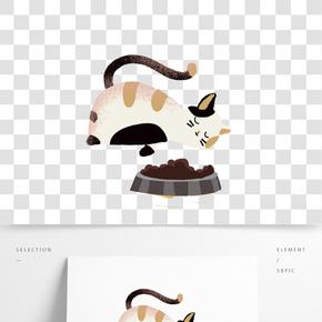 手繪貓咪貓糧食物