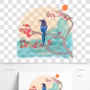 中國風水墨工筆水彩喜鵲登枝原創手繪免摳高清圖