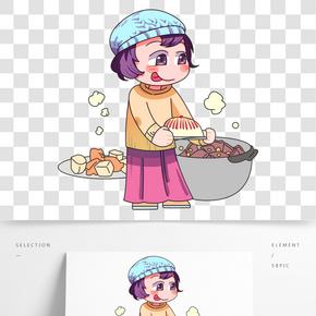 冬季寒冷天氣制作美食人物插畫