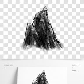 水墨中國風山體插畫