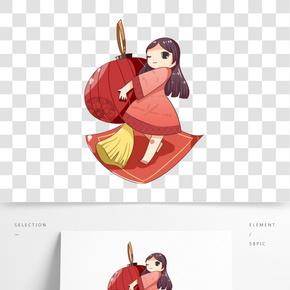 手繪可愛抱著燈籠的小女孩