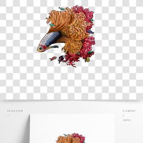 手繪插畫珊瑚金魚手繪