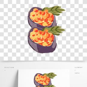 日本美食壽司蠟筆畫手繪素材