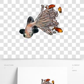 手繪插畫珊瑚金魚錦鯉