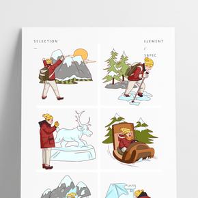 卡通手繪男孩冬季旅游插畫