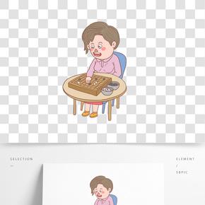 卡通手繪人物下圍棋少女