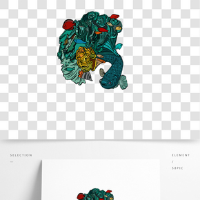 手繪金魚卡通珊瑚插畫
