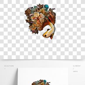 手繪中國復古風珊瑚錦鯉