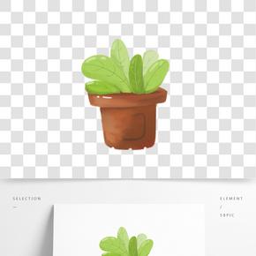 小清新綠色系可愛手繪 插畫風格 盆栽綠植 辦公室