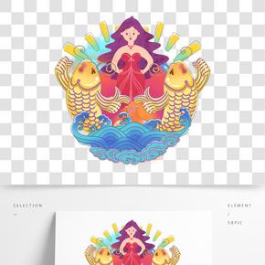 女神和兩只金色錦鯉華麗插畫