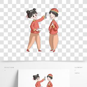 兩款福娃鬧春節日插畫