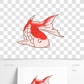 手繪一條錦鯉插畫