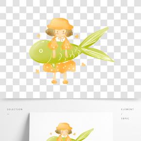 可愛小女孩懷抱錦鯉卡通插畫