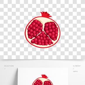 紅色石榴水果插畫