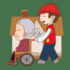 坐轮椅的老奶奶手绘