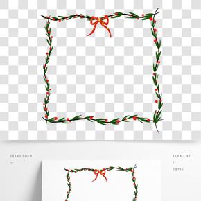 圣誕節邊框紅綠色系手繪插畫樹葉蝴蝶結PNG