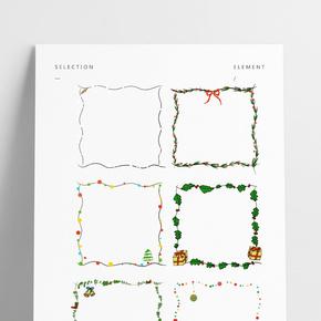 圣誕節邊框紅綠色系手繪插畫圣誕禮物邊框PNG