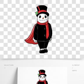 卡通手繪帥氣的雪人插畫
