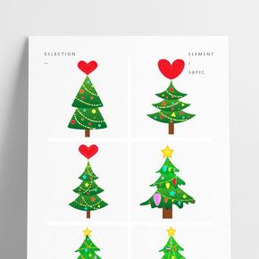 圣誕節圣誕樹圣誕元素插畫組PNG