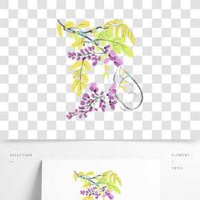 手繪黃色的藤蔓葉子插畫