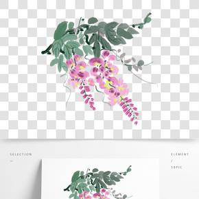 手繪墨綠色的藤蔓葉子插畫