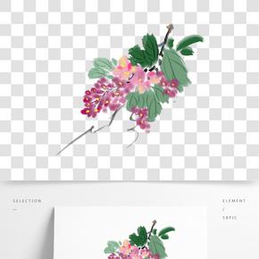 手繪粉色的葡萄花插畫