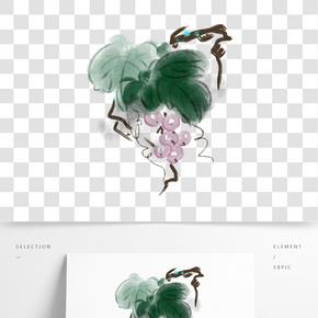 手繪晶瑩剔透的葡萄插畫