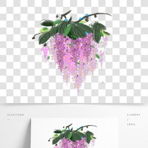 手繪粉色的藤蔓花插畫