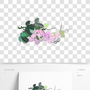 手繪墨綠色的藤蔓插畫