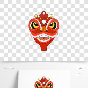 鬧新年紅色舞獅插畫