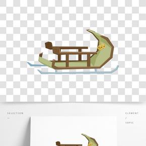 卡通手繪滑雪車插畫