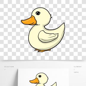 淡黃色羽毛小鴨子卡通插畫