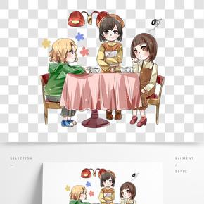 手繪手機與好友的聚餐