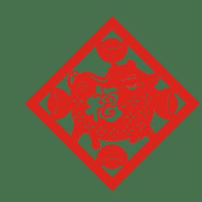 金猪福字剪纸插画