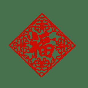 手绘红色的剪纸插画