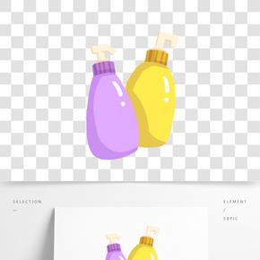 手繪兩瓶洗發露插畫