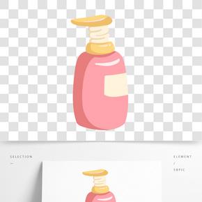 手繪粉瓶洗發露插畫