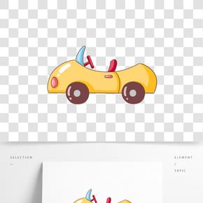 卡通手繪黃色小孩玩具汽車插畫