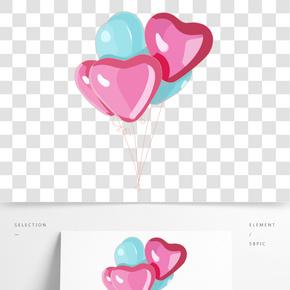 心型氣球卡通插畫
