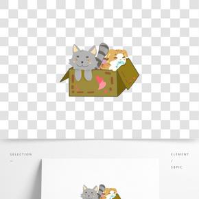 卡通手繪箱子里的小狗插畫
