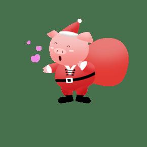 透明背景新年贺岁圣诞金猪简洁风格ai手绘