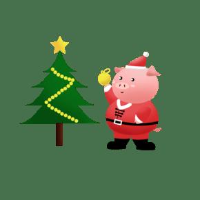 透明背景新年贺岁圣诞金猪简洁风格ai手绘2