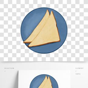 藍色三明治面包創意甜點美食手繪插畫