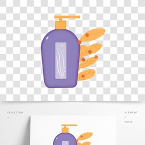 手繪紫瓶化妝品插畫