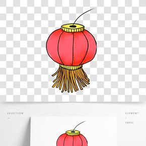 卡通紅色燈籠插畫
