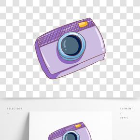 卡通手繪紫色相機插畫
