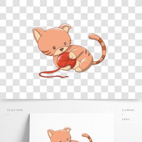 玩著毛球的小貓卡通插畫
